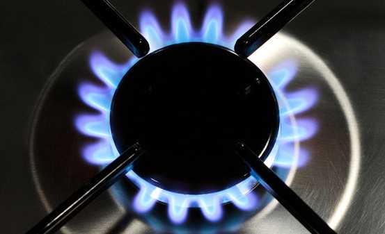 Fornello a metano acceso