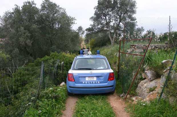 Macchina della polizia in campagna