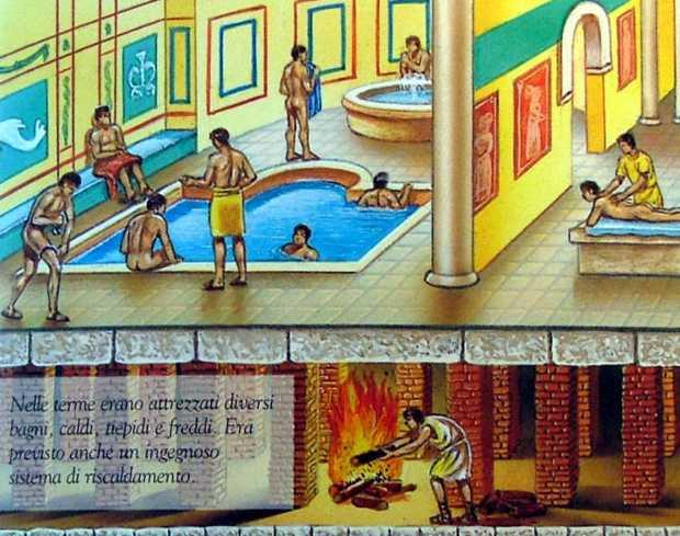 Il sistema di riscaldamento ipocaustico a parete era usato alle terme romane