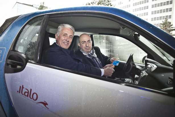 Antonello Perricone presidente di Nuovo Trasporto Viaggiatori (a sx) e Gianni Martino, country manager di car2go