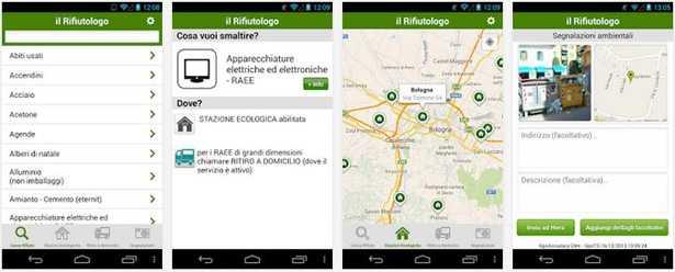 App Rifiutologo: schermate