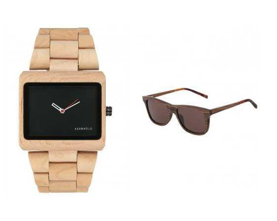 Orologi e occhiali in legno