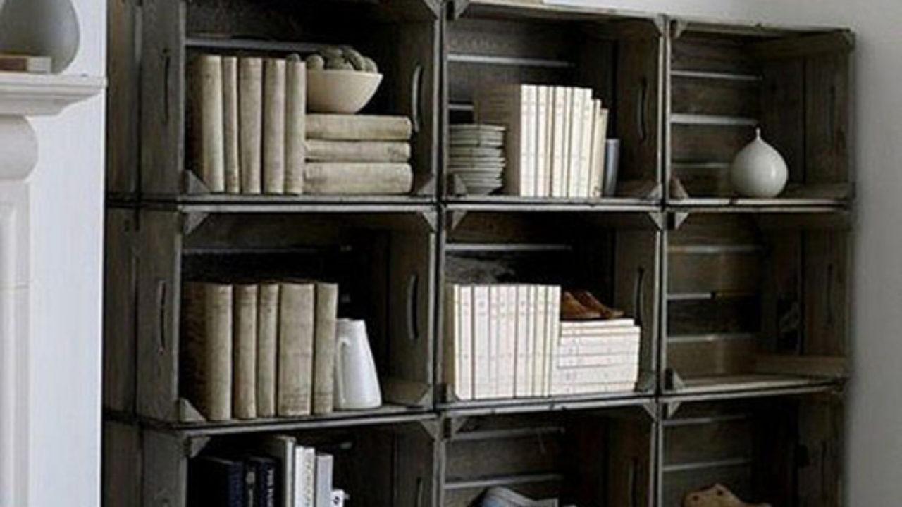 Libreria fai da te con cassette di legno Idee Green