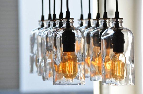 riciclo bottiglie lampade