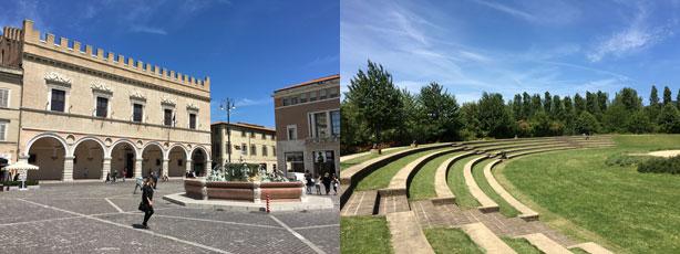 Il Palazzo Ducale di Pesaro e l'anfiteatro nel Parco Miralfiore