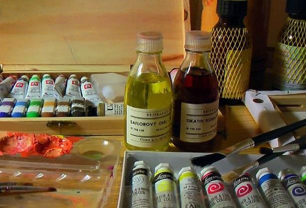 cartamo olio in pittura