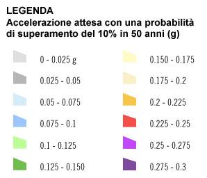 Legenda mappa rischio sismico in Italia