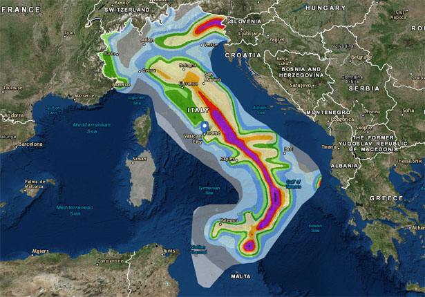 Rischio sismico in italia mappa idee green for Mappa sismica italia