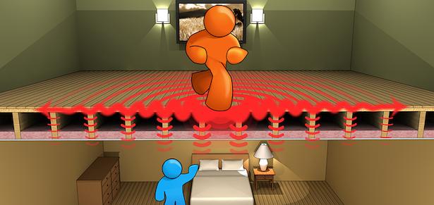 isolamento acustico pavimento e soffitto