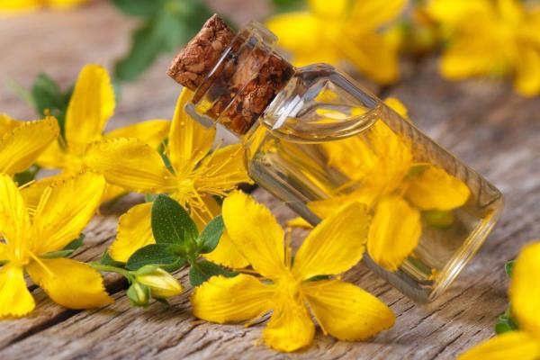 hypericum oil in a glass bottle on the table macro horizontal