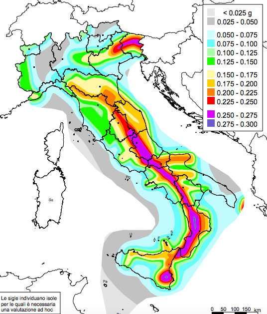 mappa rischio sismico italia