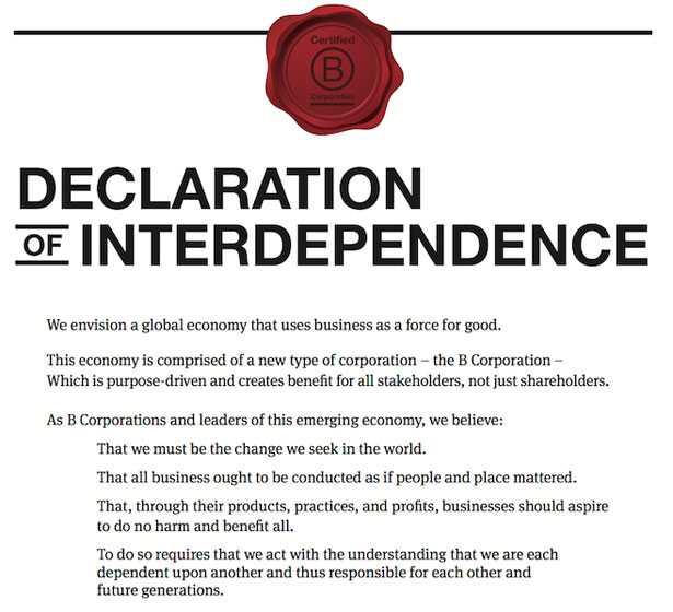 Dichiarazione interdipendenza BCorp