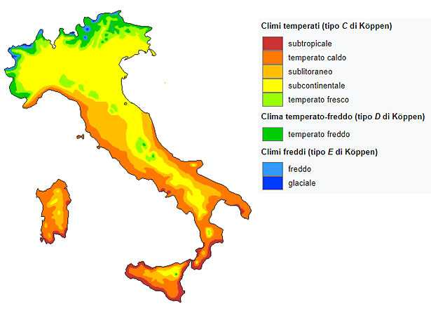 zone climatiche in Italia mappa
