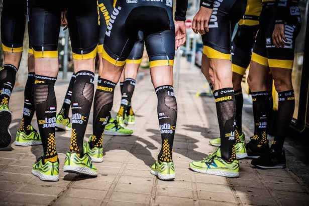 calze ciclismo lunghe a compressione in riposo