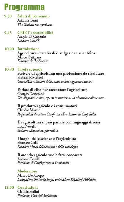 programma agricoltura in prima pagina criet