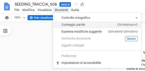 Conteggio caratteri Google Docs