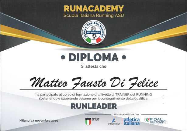 Diploma RunLeader Matteo Di Felice