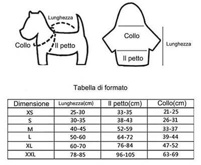 tabella misura cappottino per cani