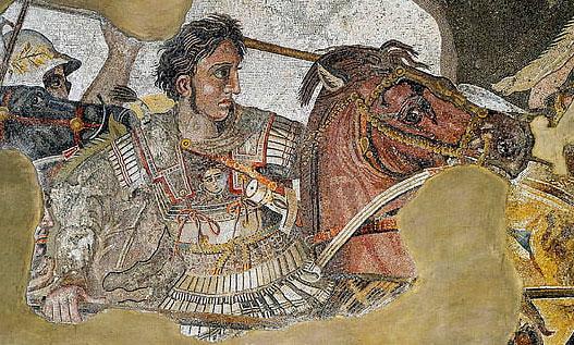 Alessandro Magno in battaglia con Bucefalo - mosaico