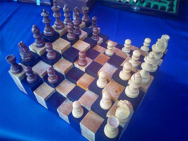 scacchiera tridimensionale artigianale