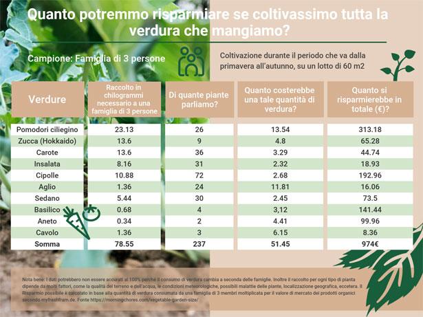 infografica risparmio orto